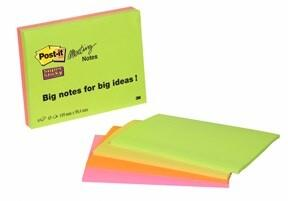 POST-IT Super Sticky Notes 98,4X149 MEETING NEON, 4 BLOKKE.